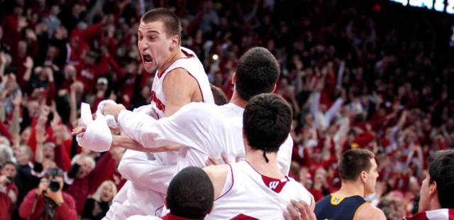 Ben Brust after sending the game into overtime vs Michigan
