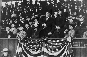President Taft throwing out the first pitch.