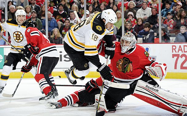 Bruins #18 Nathan Horton and Blackhawks #50 Corey Crawford