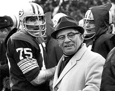 Lombardi with Forrest Gregg #75 and Jerry Kramer