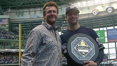 Robin Yount with Ryan Braun and 2012 MVP Award