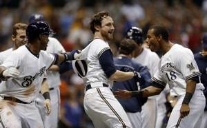 8-16-13 Lucroy's walk off HR Brewers defeat Reds 7-5