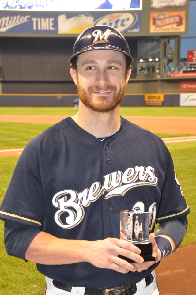 9-17-13 Jonathan Lucroy recognized as the Brewers' nominee