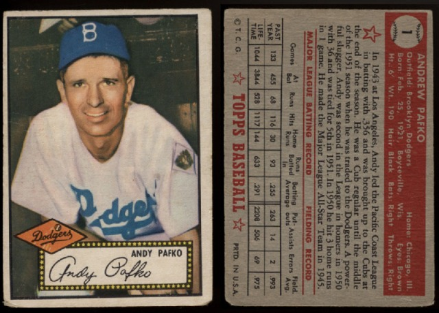 Pafko 1952 Topps #1
