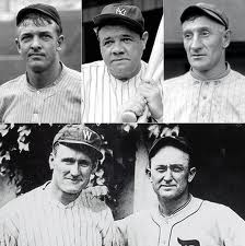 Christy Mathewson, Babe Ruth, Honus Wagner, Cy Young, and Ty Cobb