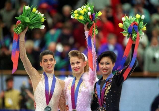 Kerrigan -Silver, Baiul-Gold, Chen -Bronze 1994 Olympics