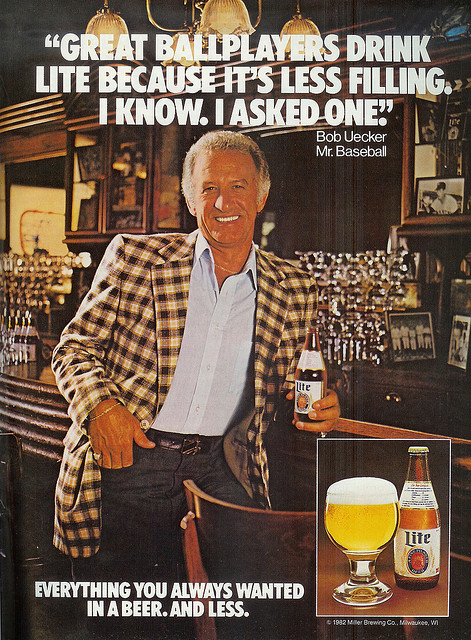 Uecker pitching Miller Lite in the 80's