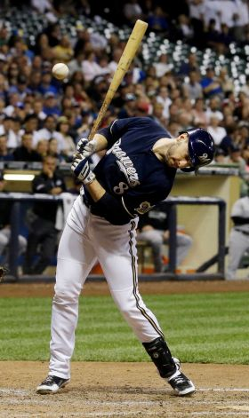 Braun getting plunked in the 6th
